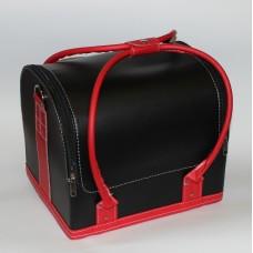Чемодан кожа двухцветный Черно-Красный