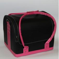 Чемодан кожа двухцветный Черно-Розовый