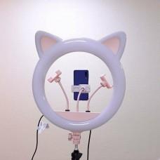 Кольцевая лампа с кошачьими ушками Ring Light RK-45 со штативом